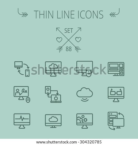 Technology thin line icon set for web and mobile. Set includes - monitors transferring data, cloud, mouse, wifi, gear, speaker. Modern minimalistic flat design. Vector dark grey icon on grey - stock vector