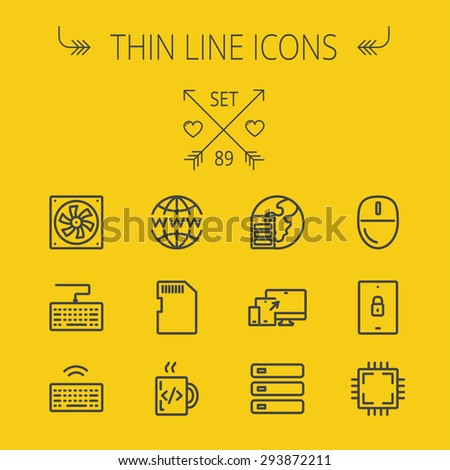 Technology thin line icon set for web and mobile. Set includes -simcard, computer cooler, keyboard, keyboard with wifi, optical drive, 3 devices, computer mouse, circuit board. Modern minimalistic - stock vector