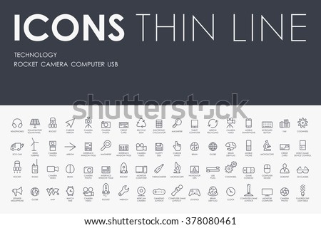 technology Thin Line Icons - stock vector