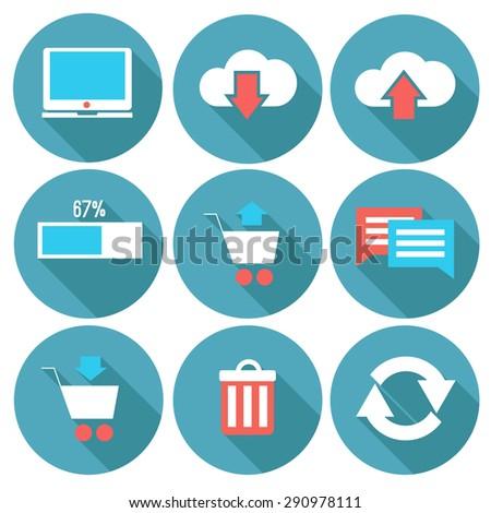 Technology vector icon set - stock vector
