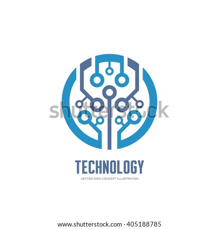 Technology  vector logo for corporate identity. Abstract chip sign