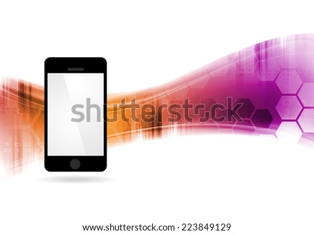 Technology vector waves abstract background with mobile phone - stock vector