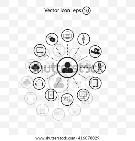 technology web icons set - stock vector