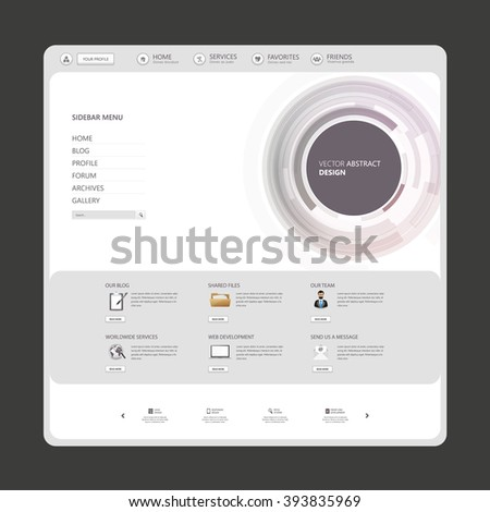 Technology Website Template Vector Eps10, Modern Web Design with flat UI elements and abstract header. Ideal for Business layout.  - stock vector