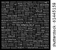 TECHNOLOGY. Word collage on black background. Illustration with different association terms. - stock photo