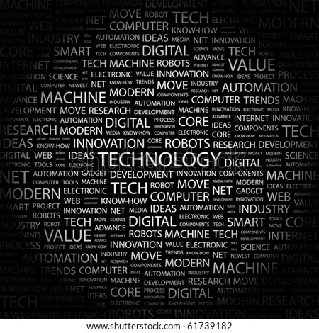 TECHNOLOGY. Word collage on black background. Illustration with different association terms. - stock vector