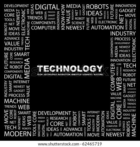 TECHNOLOGY. Word collage on black background. Illustration with different association terms.