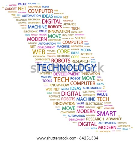 TECHNOLOGY. Word collage on white background. Illustration with different association terms. - stock vector