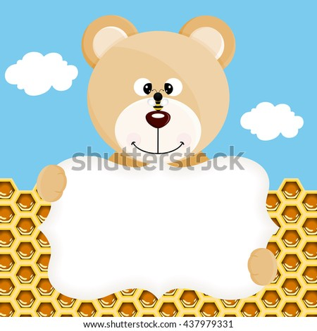 Teddy bear and bee label background