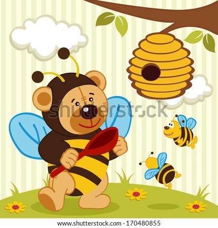 teddy bear dressed as a bee - vector illustration - stock vector