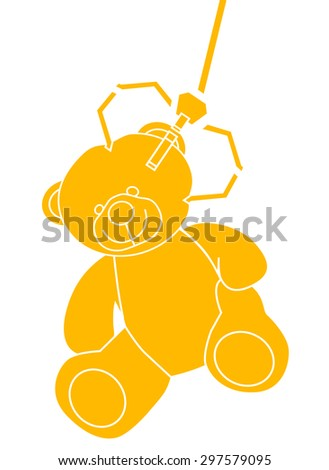 Teddy bear grabbed by a machine arm - stock vector