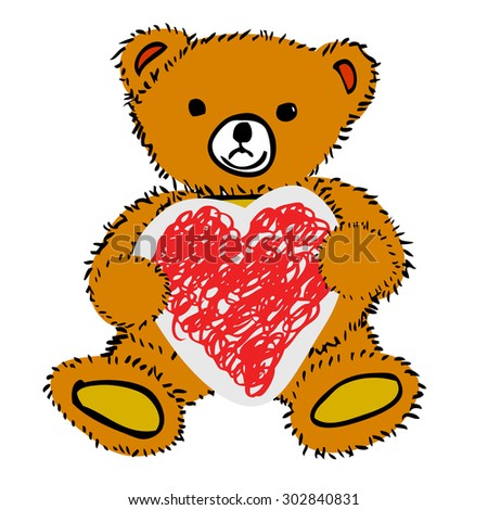 Teddy Bear - Holding Love Shape Paper, isolated on white  - stock vector