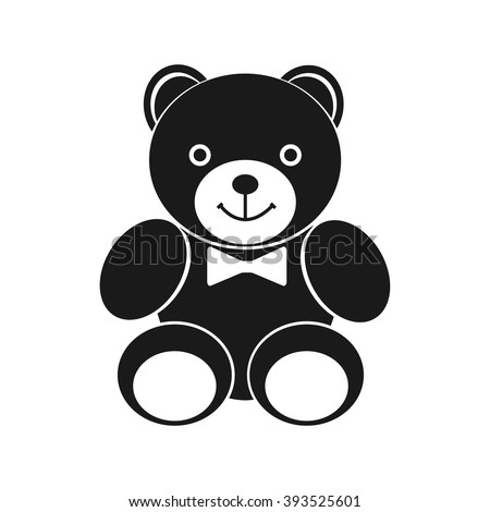 Teddy bear icon. Black icon on white background. Silhouette teddy bear. Pictogram teddy bear. Design element for websites and print. Vector illustration. Plush toy. - stock vector