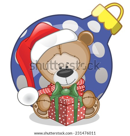 Teddy Bear in a Santa hat with gift  - stock vector
