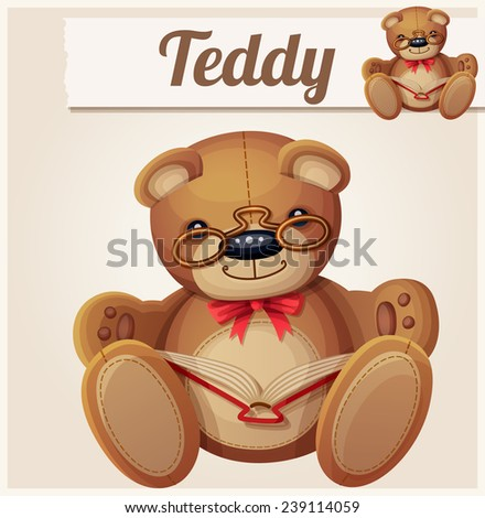 Teddy bear in glasses read the book. Cartoon vector illustration.  - stock vector