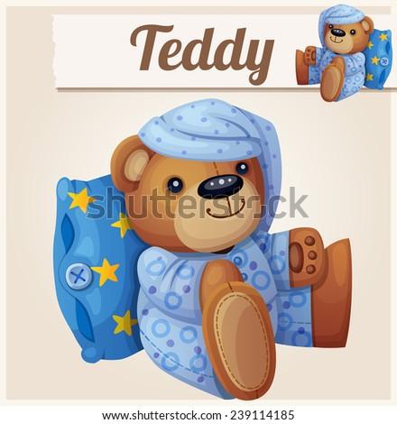 Teddy bear in pajamas with pillow. Cartoon vector illustration.  - stock vector
