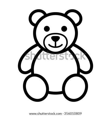 Teddy bear plush toy line art icon for apps and websites - stock vector