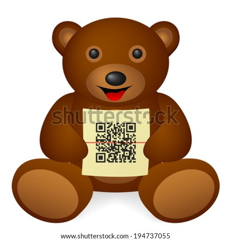 Teddy bear QR code on a white background. Vector illustration.