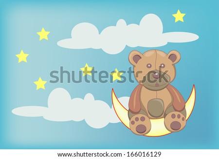 teddy bear siting on moon - stock vector