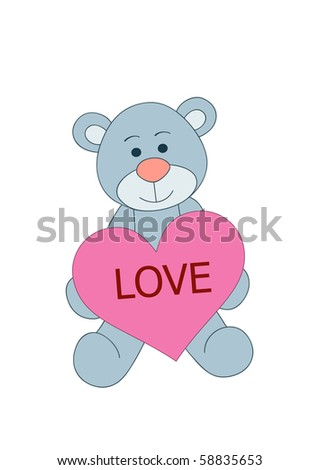 Teddy bear sitting and holding heart with love text, vector - stock vector