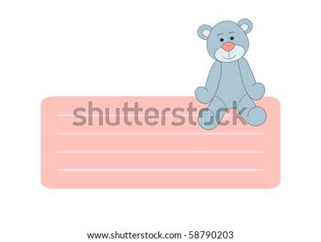 Teddy bear text box for greetings or kid design - stock vector