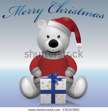 Teddy bear white with present Christmas red sweater and red hat - stock vector