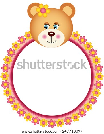 Teddy Bear Flower Frame Stock Vector 247713097 - Shutterstock