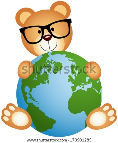 Teddy Bear with Globe - stock vector