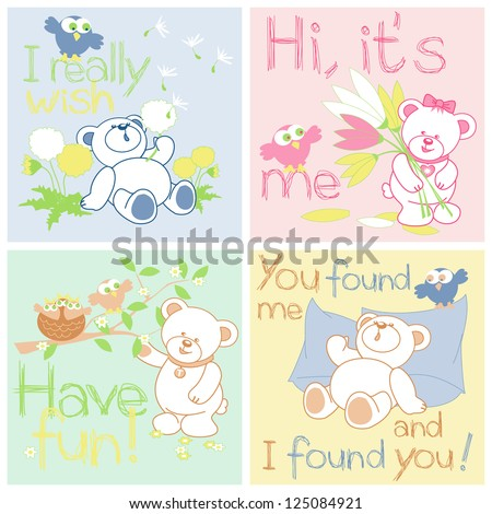 Teddy bears bird rings, flowers - isolated pattern, vector illustration