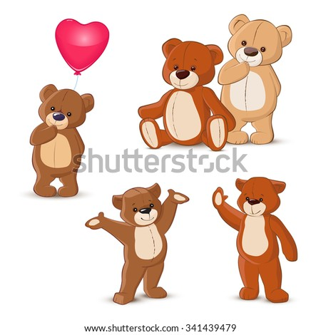 Teddy bears set on white background - stock vector
