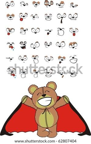 teddy cartoon vampire halloween set in vector format - stock vector