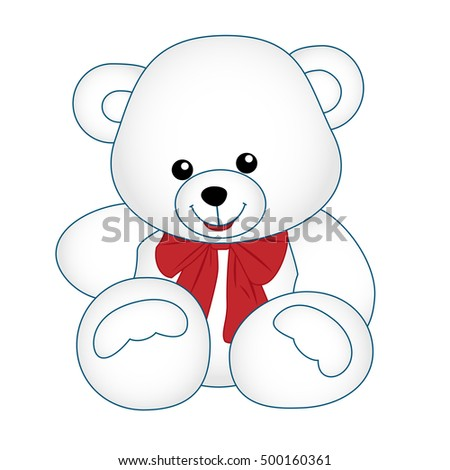 Teddy with bow. Outlined bear toy vector illustration. Isolated on white.