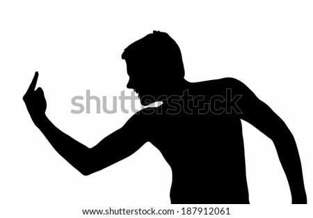 Teen Boy Silhouette Bully Showing Dirty Hand Gesture  - stock vector