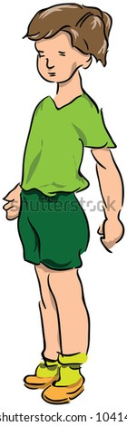 Teen Boy T-shirt and shorts. Vector illustration.