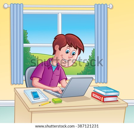 Teen Boy Using Laptop Computer for Homework - stock vector