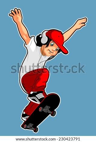 teen involved in skateboarding - stock vector
