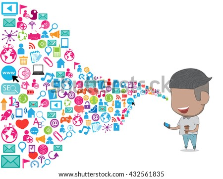 Teenage boy happy template design thinking idea with social network icons background. - stock vector