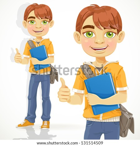 Teenage boy with a textbook shows OK - stock vector