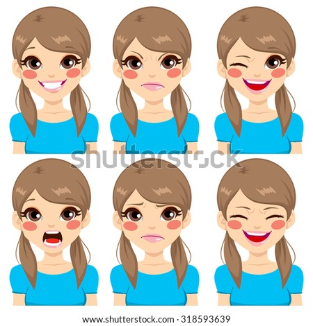 Teenage girl making six different face expressions set - stock vector