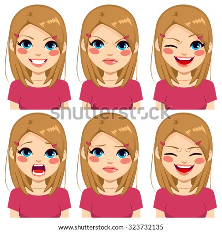 Teenage girl making six different face expressions set with pink shirt - stock vector