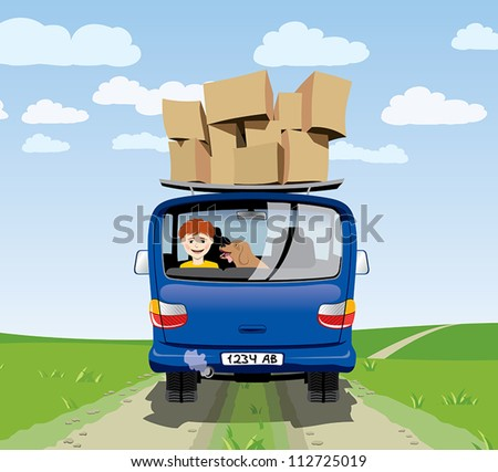 teenager and a dog traveling in the car - stock vector