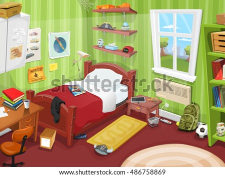 Teenager Bedroom With Object/ Illustration of a cartoon kid or teenager bedroom with boy or girl lifestyle elements, toys, bed, books, desk, bookshelf, and accessories a little in mess