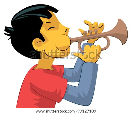 Teenager boy with chubby blown up cheeks playing trumpet - stock vector