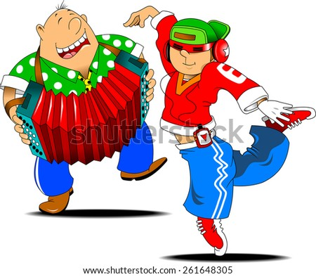 Teenager dancing hip hop to the accompaniment of an accordion, vector - stock vector
