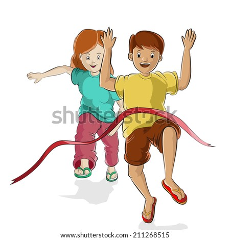 teenager finish from running game - stock vector