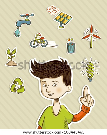 Teenager presents green actions with retro cartoon style icon set. Vector file layered for easy manipulation and custom coloring. - stock vector