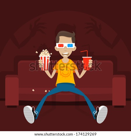 Teenager sits on sofa in 3D glasses - stock vector