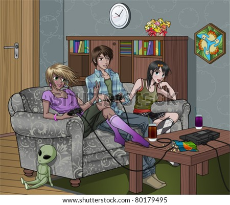 Teenagers Playing Video Games Indoors