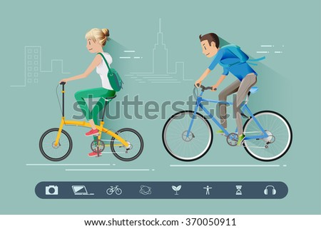Teens are cycling to their destinations.Reducing energy use by cycling.Life in the city.cycling to avoid traffic jams.Arrive quickly in cities with heavy traffic.Technology era.Graphic and EPS 10. - stock vector