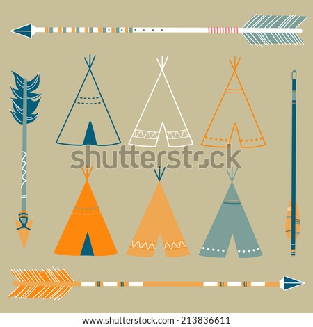 Teepee Tents and arrows - hipster style  - stock vector